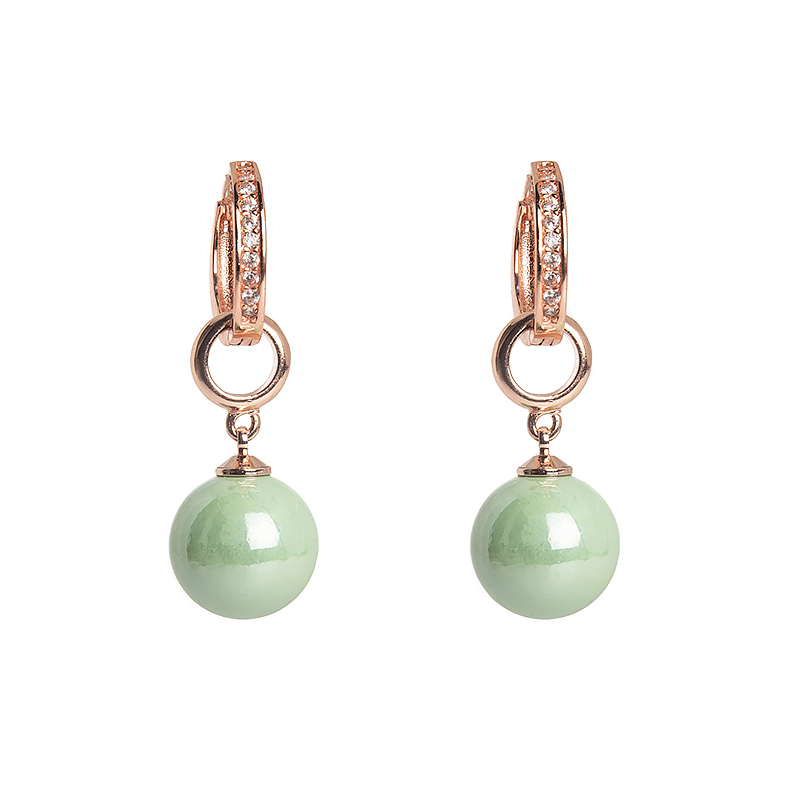 Kõrvarõngad Golden Base Green Pearl Charm